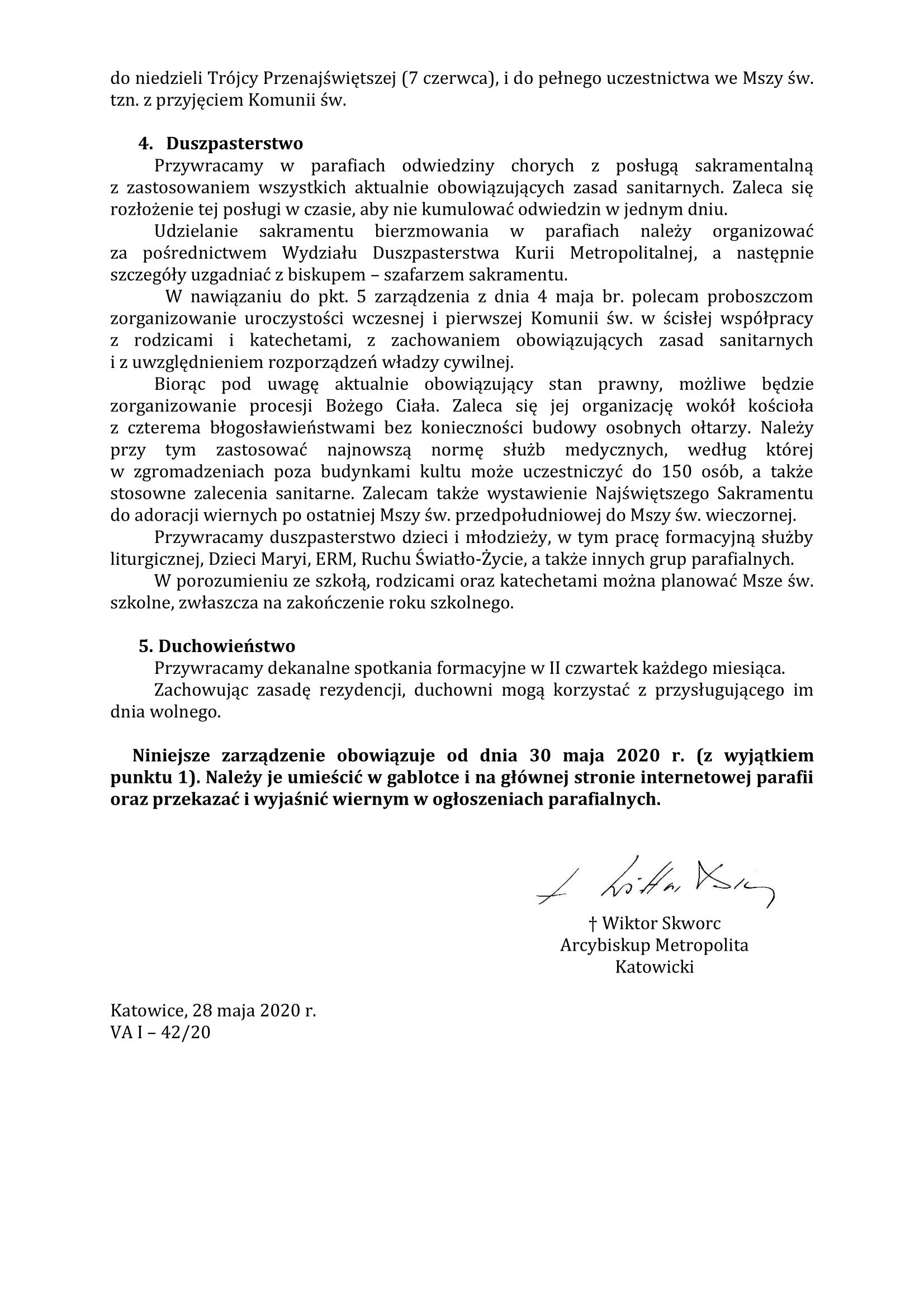 Zarządzenie Arcybiskupa Katowickiego odnośnie do sprawowania posługi duszpasterskiej i liturgicznej